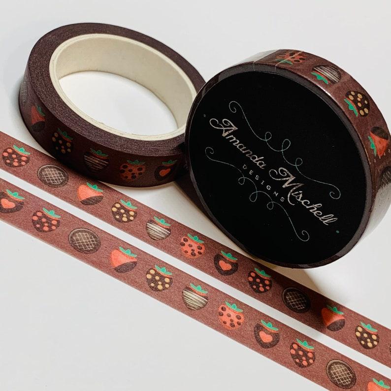 33 Feet CHOCOLATE COVERED STRAWBERRIES Valentine Custom Washi Tape ~ 1 Roll ~ 10mm x 10m
