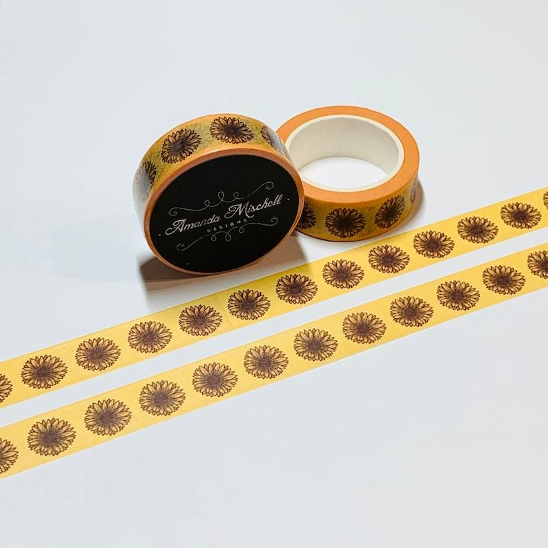 BLOOMED SUNFLOWER HEADS Custom Washi Tape ~ 1 Roll ~ 15mm x 10m 33 Feet