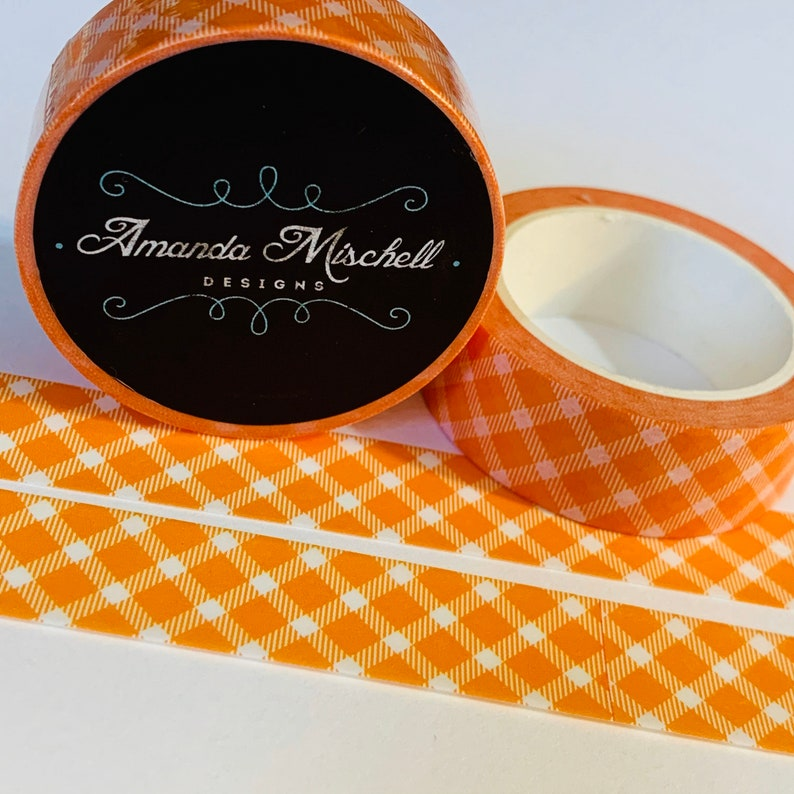 HALLOWEEN ORANGE PLAID Custom Washi Tape 1 Roll For Planners Bullet Art Junk Journals Travel Notebooks Lesson Plan Scrapbooking Mixed Media