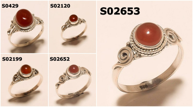 925 Solid Sterling Silver Ring Natural Red Onyx Gemstone Ring Handmade Ring Sterling Silver Rings Jewelry Men Rings /& Women Rings
