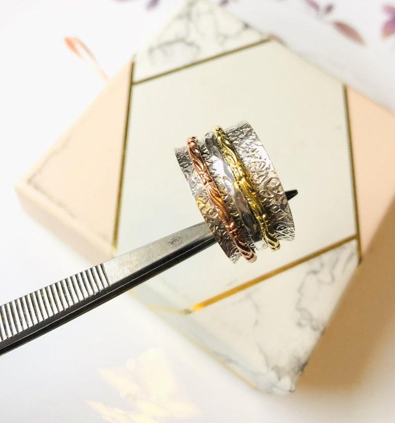 Hammered,Spinner rings fidget rings,bands meditation meditation bands,gift for her Elegant,Spinner ring 925 Sterling silver