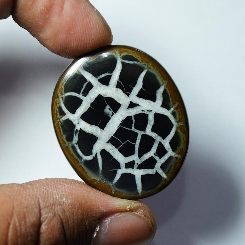 53 Cts Natural Septarian Cabochon Designer Septarian Loose Gemstone 35x29x5 MM G3692