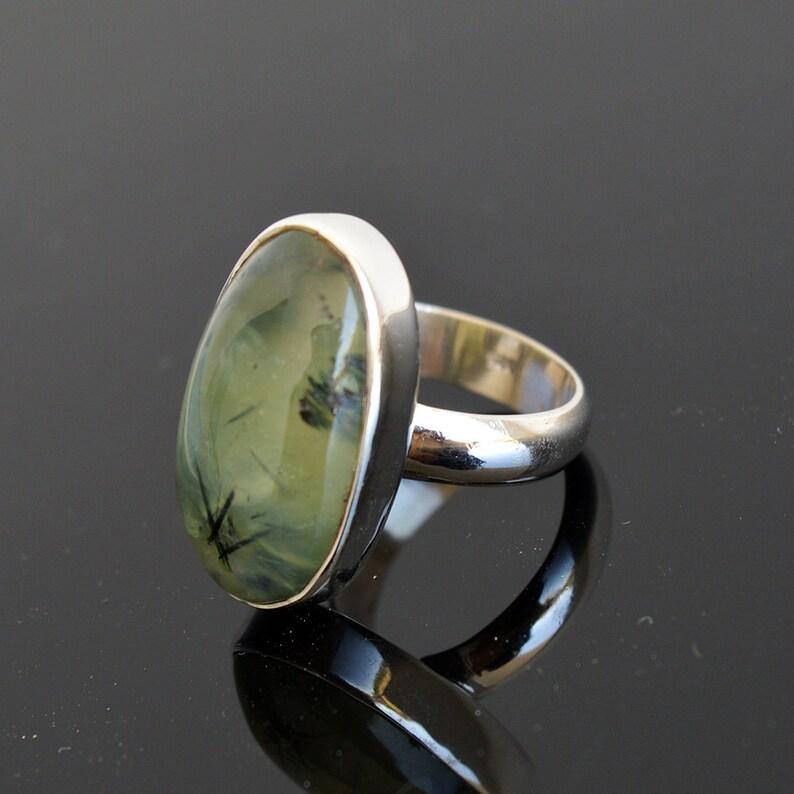 7.8 Gm Natural Prehnite Gemstone Ring Size 6.75 Prehnite Gemstone Sterling Silver Handmade Men/'s Ring SJ658