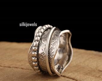 Boho spinner Ring,Women Ring,Sterling Silver 925,silver spinner Ring,women meditation ring,etsy spinner ring, Bestseller thumb ring,All size