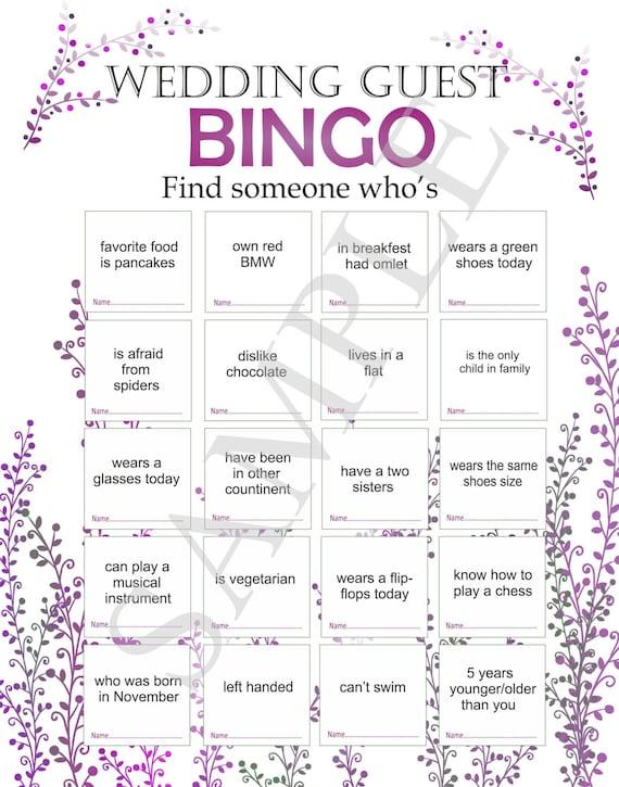 Wedding Reception Game Wedding Bingo Bingo For Guests Etsy