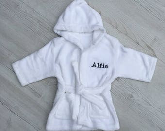 Personalised Kids Dressing Gown - Custom Toddlers Bath Robe - Embroidered Name