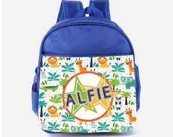 2d6fed3a83 Personalised Safari Zoo Kids Animals Backpack - Custom Boys Children s  School Bag - Printed Name