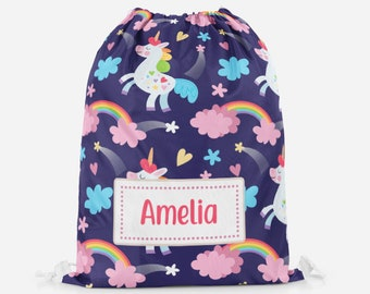 Personalised Cute Fox Gold Dots Girls Kids School Children/'s Drawstring Bag