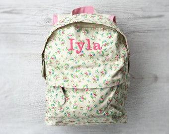 7fb40e11f1f7 Personalised Kids Floral Flowers Mini Backpack - Custom Girls Children s  School Bag - Embroidered Name