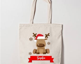 rudolph reindeer scroll christmas canvas tote bag personalised any name can be added