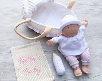 Personalised Embroidered Baby Doll Cot Newborn New Arrival Girl 1st First Birthday Gift Suitable From Birth Approx 25cm