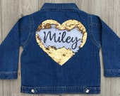 Personalised Baby Toddler Girls Denim Jacket Love Heart Sequin Reveals Name