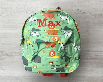 Personalised Kids Animal Park Zoo Safari Mini Backpack - Custom Boys Children's School Bag - Embroidered Name