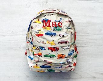 db3798561b Personalised Kids Cars   Aeroplanes Mini Backpack - Custom Boys Children s  School Bag - Embroidered Name