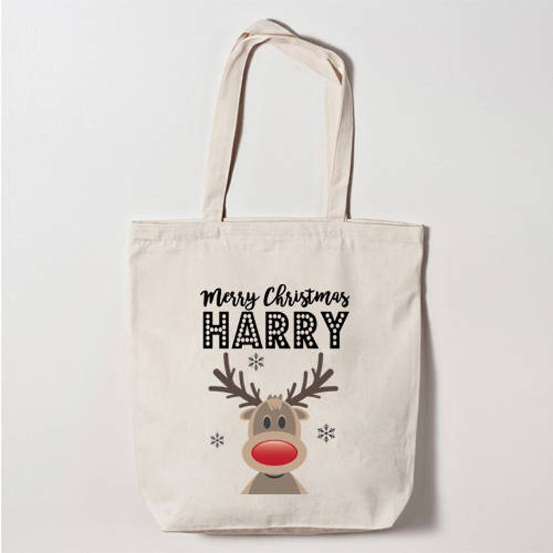 Rudolph Reindeer Merry Christmas Canvas Tote Bag Personalised Any Name Can Be Added