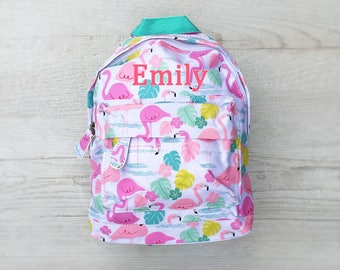 Personalised Kids Flamingo Mini Backpack - Custom Girls Children's School Bag - Embroidered Name