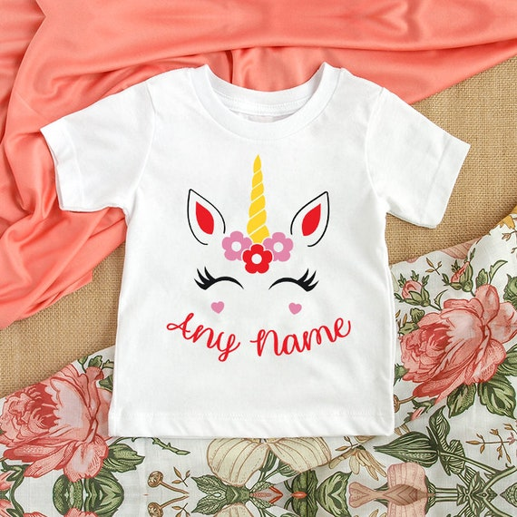 Personalised Ditsy Flower Name /& Initial Children/'s Kids T Shirts T-Shirt Top