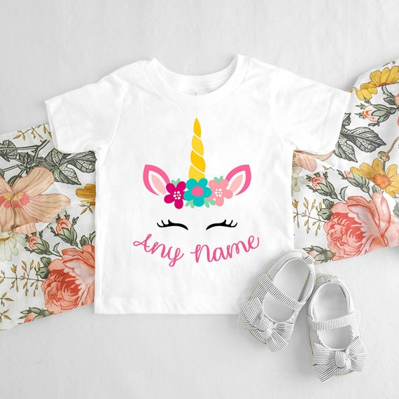 Personalised Name Unicorn Eyes Head Children/'s Kids T Shirts T-Shirt Top Stars
