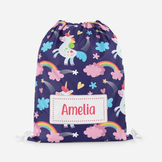 Magnificent Unicorn And Rainbows Magical Girls Kids Childs Childrens Personalised Drawstring Pe Bag Swimming Bag School Bag Gamerscity Chair Design For Home Gamerscityorg