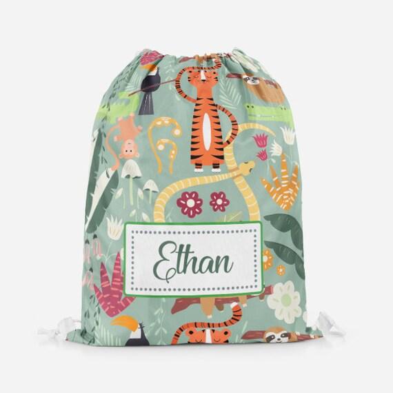Personalised Tropical Animals Kids PE Swimming School Children/'s Drawstring Bag