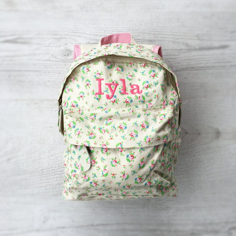 Personalised Kids Floral Flowers Mini Backpack  Custom Girls image 0