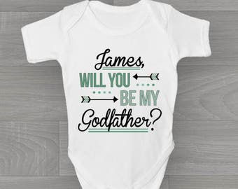 Personalised Will You Be My Godfather? Baby Grow, Cute & Unique Bodysuit Baby Gift for Christening.