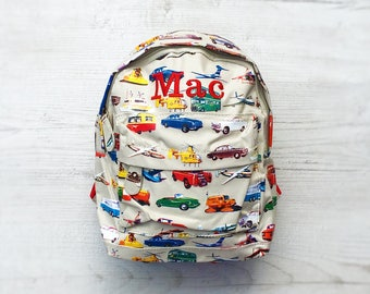 Personalised Kids Cars & Aeroplanes Mini Backpack - Custom Boys Children's School Bag - Embroidered Name