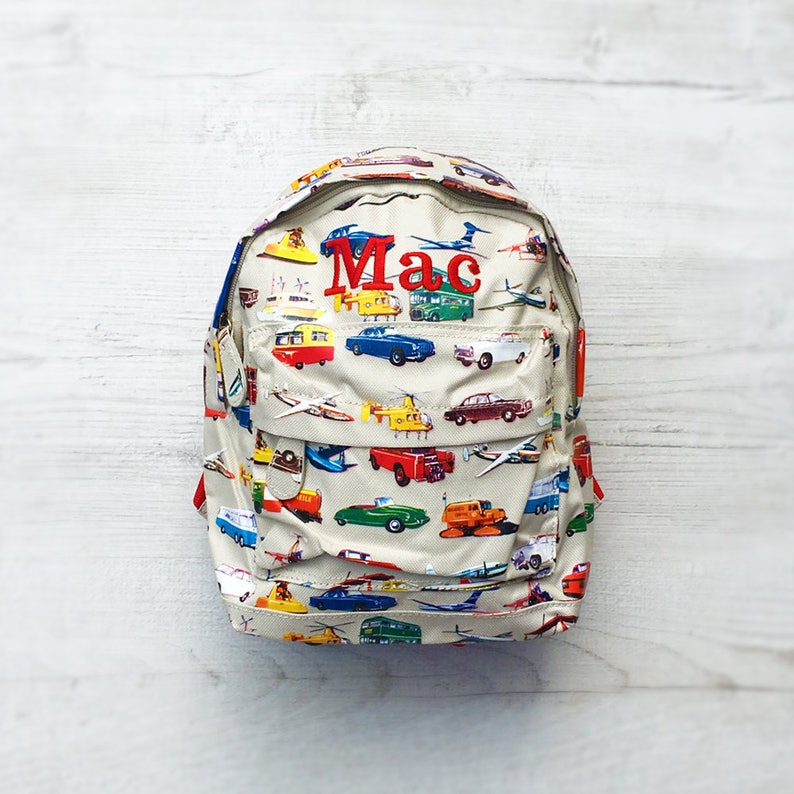Personalised Kids Cars & Aeroplanes Mini Backpack  Custom image 0