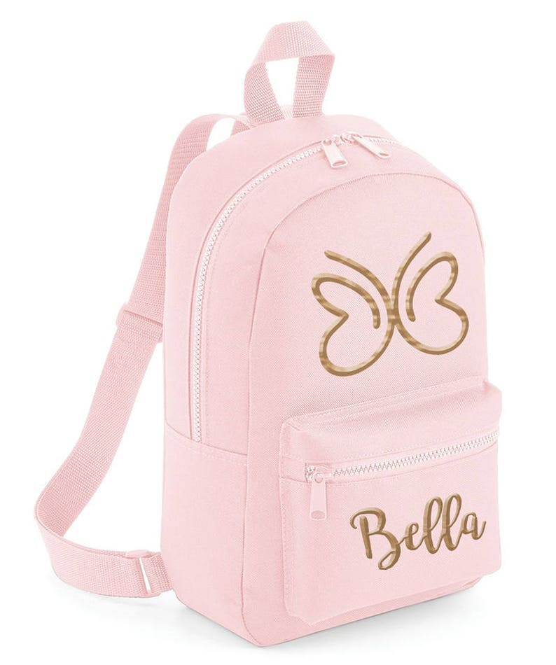 8807a34683 Personalised Kids Pink Butterfly Glitter Mini Backpack