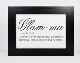 Framed Personalised Glam-ma Print | Glamma Gift | Glam ma Gift | Grandma Gift | Nana Gift | Nanny | Grandmother Gift | Baby Announcement