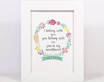 Framed Personalised I Belong With You, You Belong With Me, You're My Sweetheart Hey Ho The Lumineers Lyrics Print | Wedding Song Lyrics