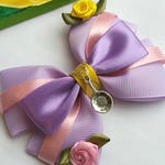 Rapunzel Hair Bow, Tangled, Baby Headband, Disney, Princess, Rose Flowers, Lilac, Pink, Purple,Yellow, Gold, Hair Clip,Uk