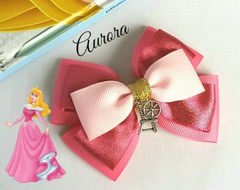 Aurora inspired,Princess, Sleeping Beauty Hair Bow, Baby Headband, Spinning Wheel, Pink,Disney,Party,Uk