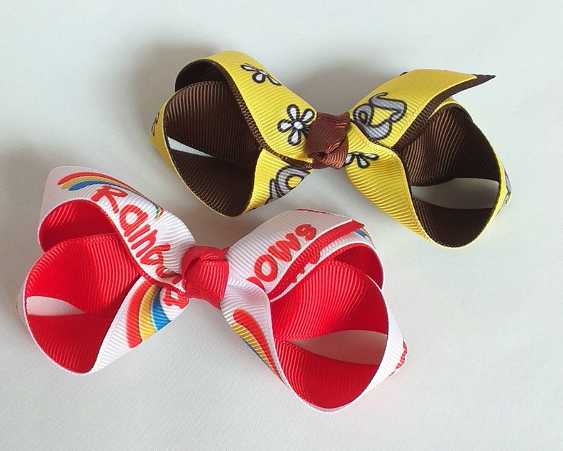 Yellow Brown Scout Club Hair Bows,Handmade,Girls,Red Brownies Gift Rainbows