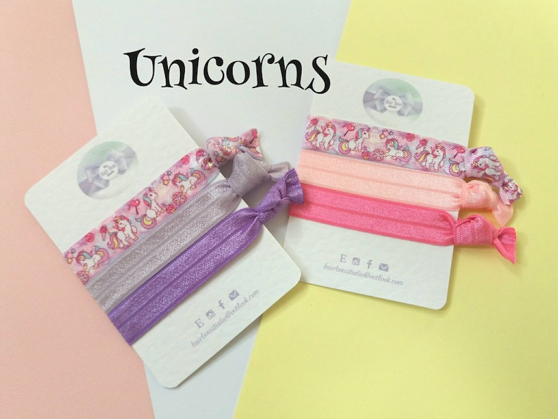 Unicorn Hair tieshairbands fold over elasticpk of 3party image 0