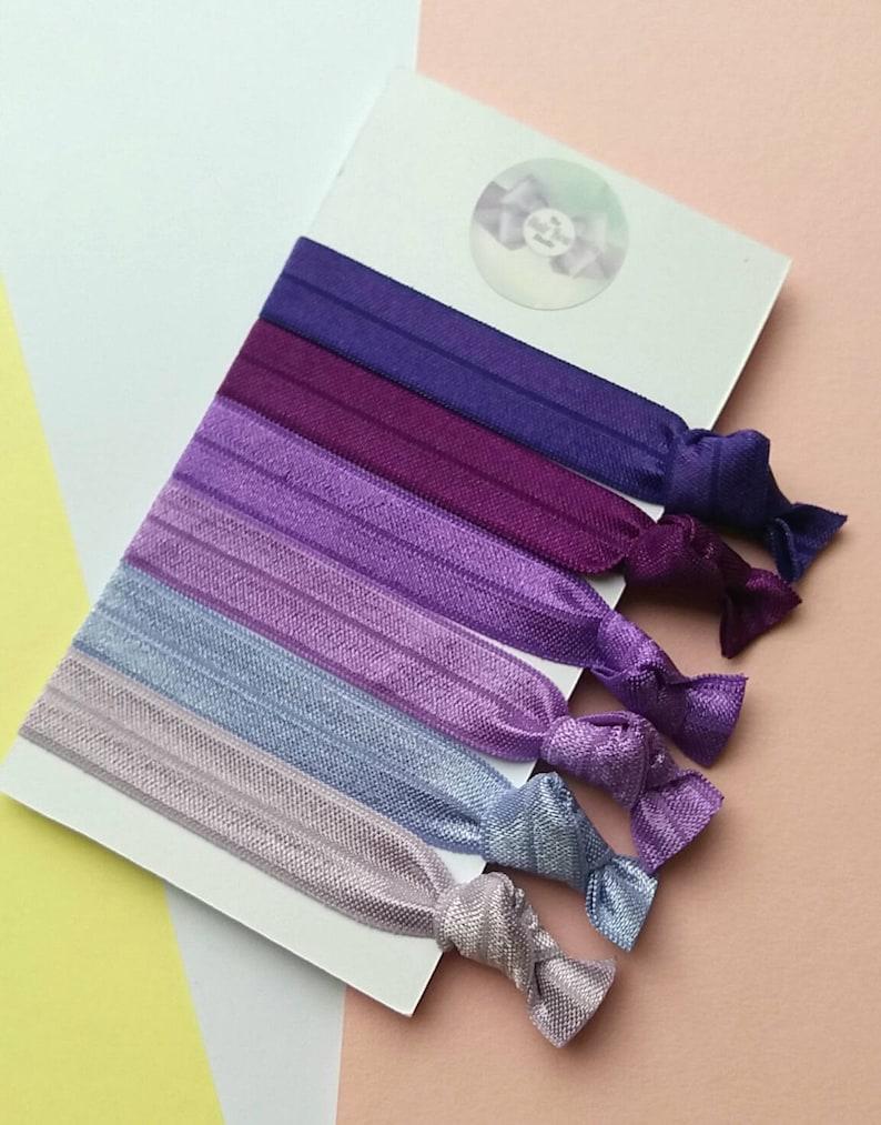 PurpleLilacMauve hair ties pack of 6 easter gift yoga image 0