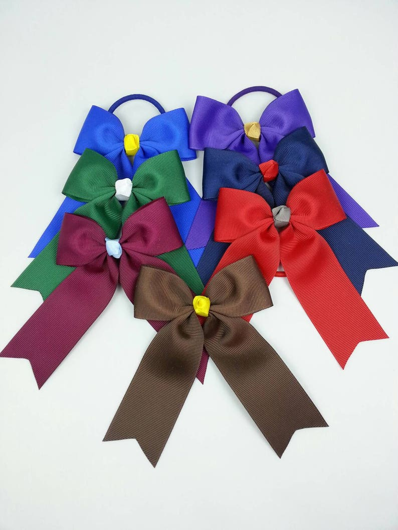 School cheer bow hair bows hair bobbles ponytail holders image 0