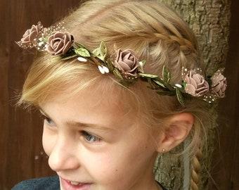 Flower Crown, Wedding Garland Headband, Rustic,Woodland Floral Headband, Halo,Brown,White,Tulle Foam Roses,Uk