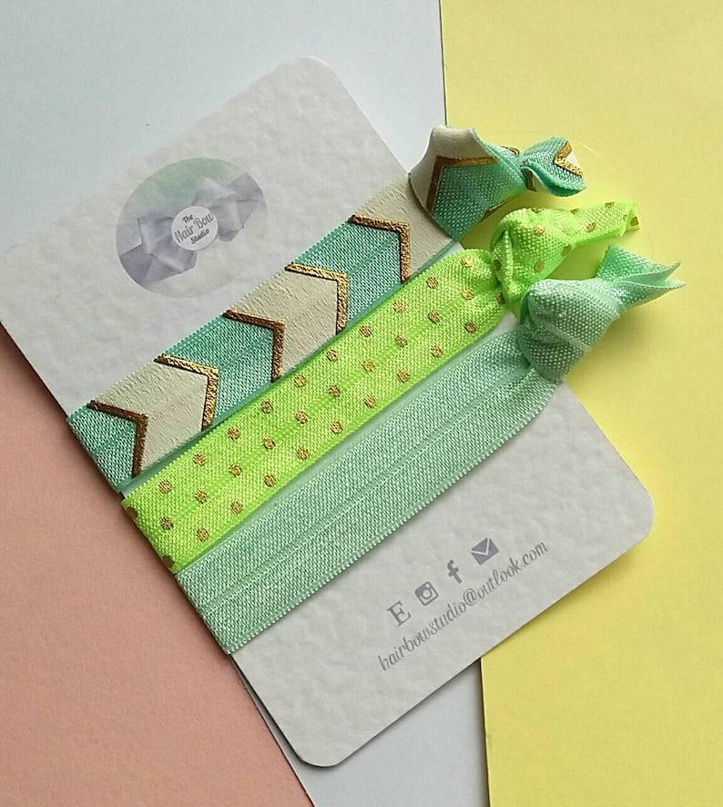 Hair ties chevron neon pack of 3 green mint yoga image 0