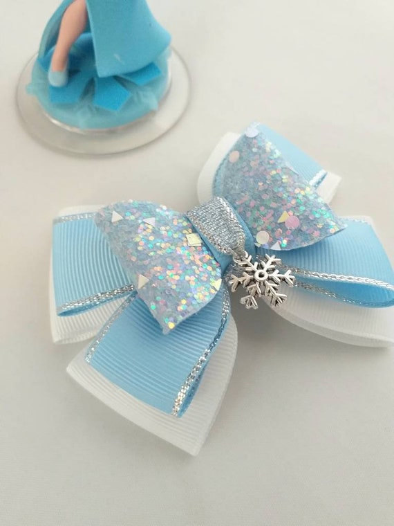 Handmade 2 baby//toddler small white frozen blue snowflake Glitter Hair Bow clips