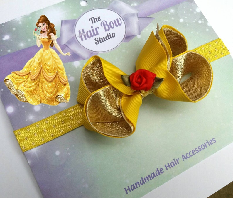 Belle Inspired Hair Bow Baby Headband Beauty And The Etsy