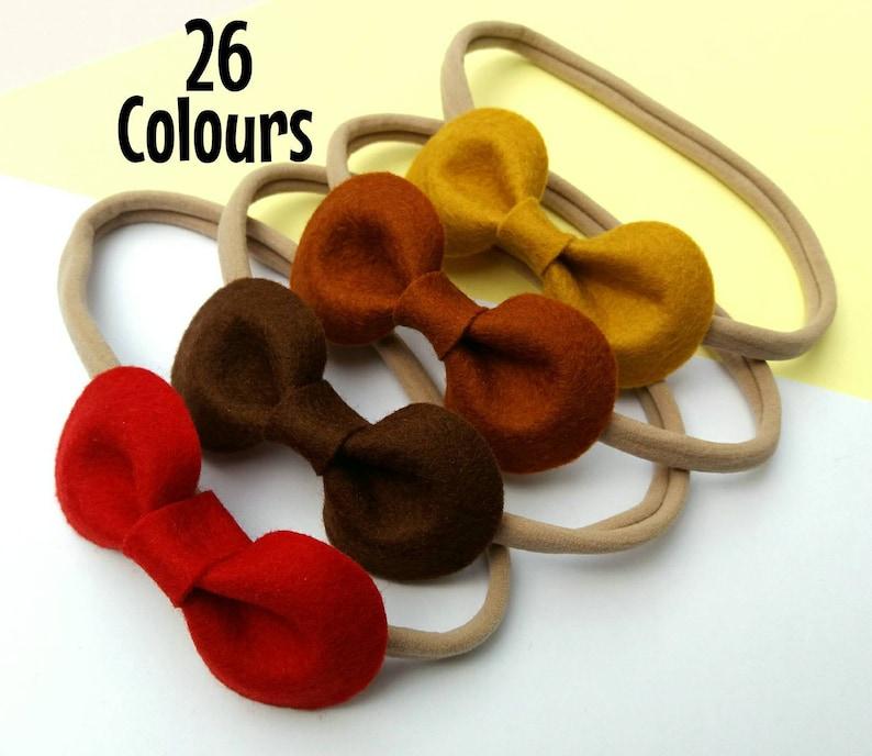 Baby Headbands Hair Bows 3100% Wool Felt26 Colours image 0