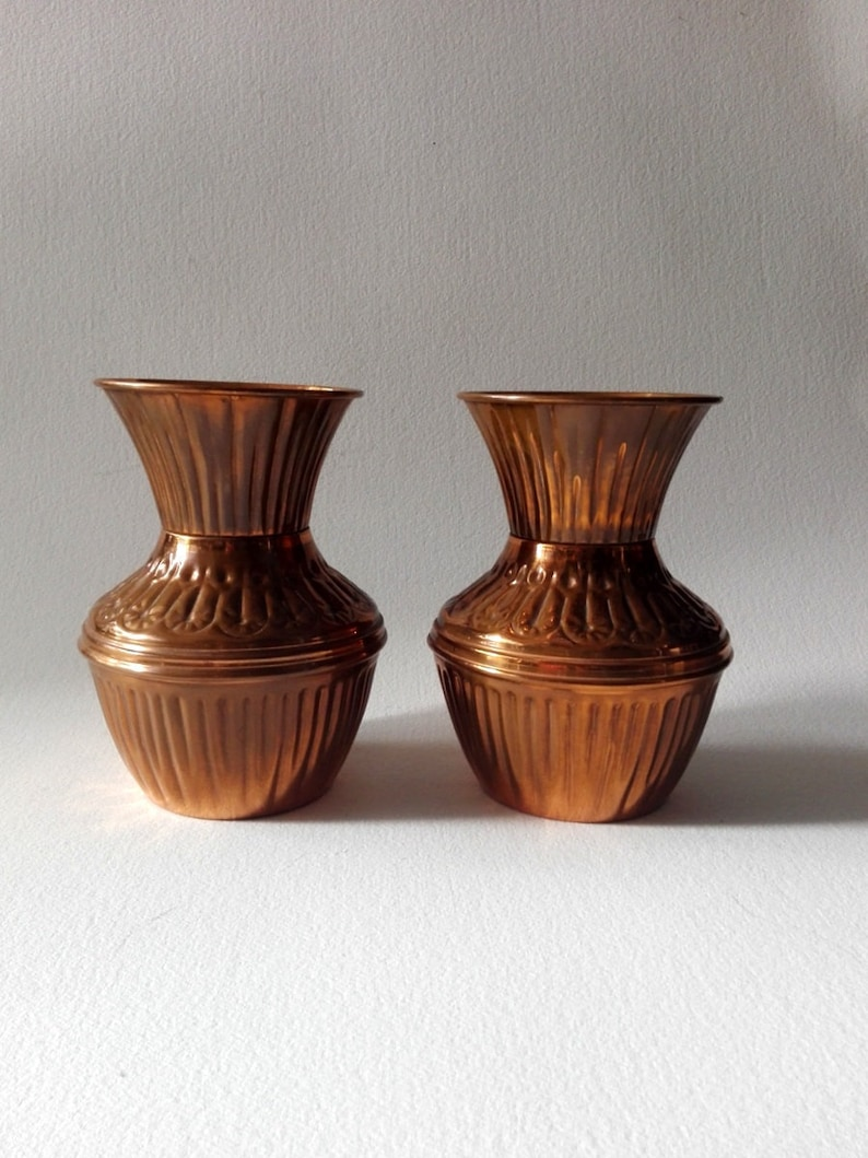 image 0 ... & Set of 2 Copper flower vase french vintage vase french | Etsy