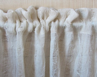 """Pure Linen Curtain W32""""x H18""""-33"""" Cream Linen Privacy Curtain; Eco-friendly Prewashed Linen Curtain; Loosely Woven Linen Cafe Curtain"""