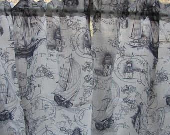 Linen Curtain; Privacy Curtain; Rod Pocket Cafe Curtains; Off White & Gray Curtains with Sailing Ships and Lighthouses; Bathroom Curtains