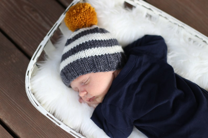 0a02254aa28 Striped Baby Beanie Yellow Big Pom Hat Unique Baby Clothes