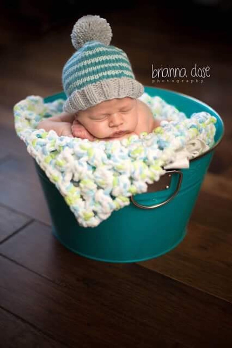 e7228ca5c7a Turquoise Striped Baby Boy Beanie Knit Infant Winter Hat for