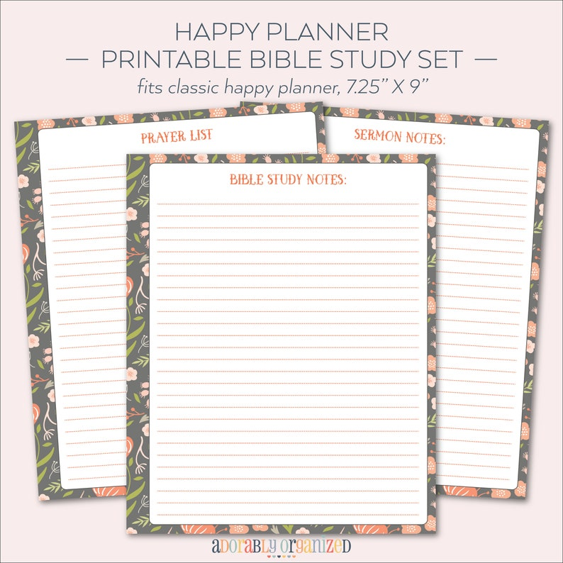 picture relating to Printable Bible Study titled Pleased PLANNER PRINTABLE Bible Analyze Planner Internet pages / Inserts - 7 x 9.25  Slide Floral Acquire 365 Me My Substantial Designs Sermon Notes Prayer