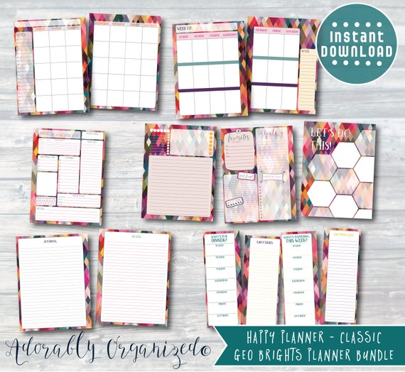 HAPPY PLANNER PRINTABLE Planner Bundle / Inserts 7 x 9.25 ...