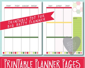 HAPPY PLANNER Printable Weekly Planner Refills / BIG Inserts - 8.5 X 11   Strawberry   Create 365   Me & My Big Ideas   mambi   Undated